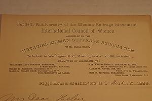 Susan B. Anthony Handwritten Letter to Helen: Susan B. Anthony
