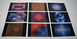 Victor Vasarely. Lot de 9 cartes postales