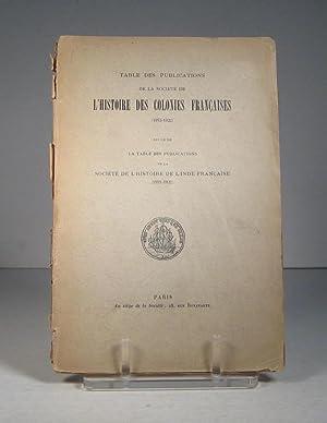 Table des publications de la Société de: Société de l'Histoire