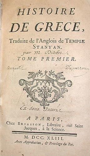 Histoire de Gr?ce, traduite de l'Anglois de: DIDEROT (Denis);STANYAN (Temple);