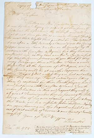 Manuscrit autographe. Copy of a letter from Wm. Plumsted Esq. to Wm. Parsons Esq. of Easton.: ...