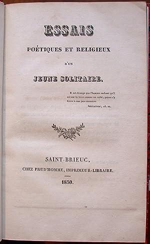 Essais poétiques et religieux d'un jeune solitaire.: DU CLESIEUX (Achille, comte);