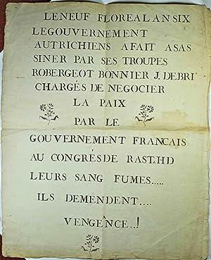 Congrès de Rastadt]. Le Neuf Floréal An VI (28 avril 1798) le Gouvernement Autrichien...
