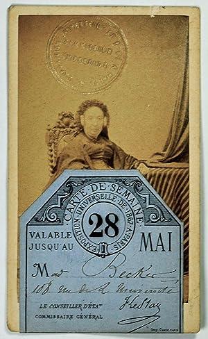 Exposition Universelle de 1867 à Paris. Carte de semaine valable jusqu'au 28 mai.