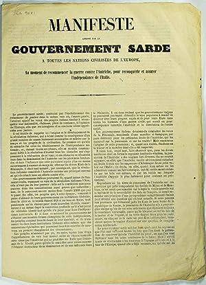 Manifeste adressé par le gouvernement Sarde à toutes les nations civilisées de...