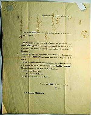 Religion Saint-Simonienne. Lettre envoyée la veille de l'incarcération du P&...