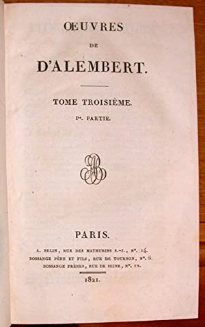 Oeuvres de d'Alembert.: ALEMBERT (Jean Le Rond d');