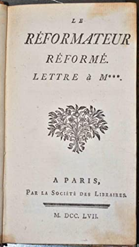 Le Réformateur réformé. Lettre à M***.: CLIQUOT DE BLERVACHE (Simon);