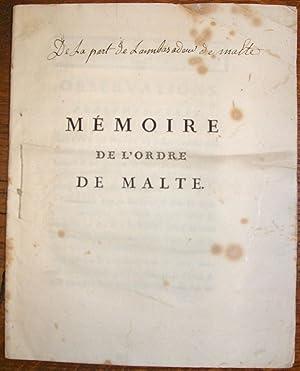 Ordre de Malte]. Mémoire de l'Ordre de Malte.: GUIRAN LA BRILLANNE (Joseph-François de)...