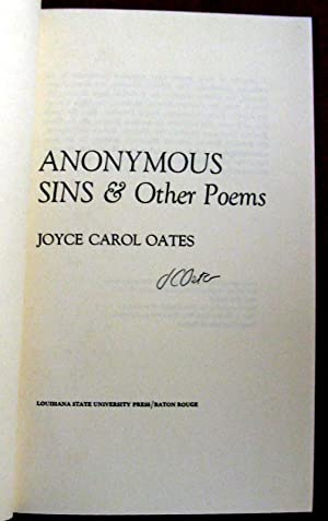 Anonymous sins & other poems: Joyce Carol Oates