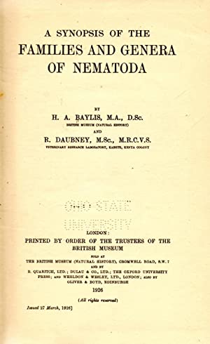 A Synopsis of the Families and Genera of Nematoda: Baylis, H. A. and Daubney, R.
