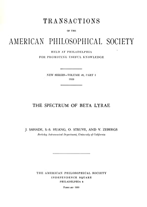 The Spectrum of Beta Lyrae Transactions of the American Philosophical Society Held at Philadelphia ...