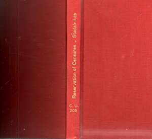 Reservation of Censures A Commentary with Historical Notes on the Nature of the Reservation of ...