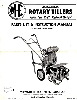 Milwaukee Rotary Tillers Parts List and Instruction Manual All MI6 Mustang Models
