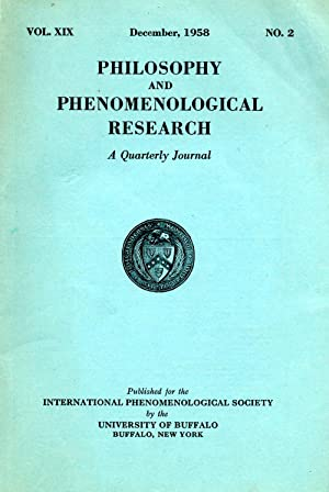 Philosophy and Phenomenological Research A Quarterly Journal Vol. XIX No. 2 December 1958