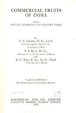 Commercial Fruits of India with Special Reference to Western India