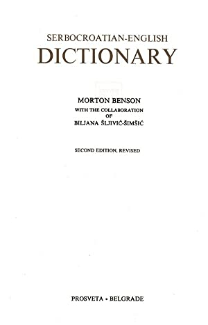 Serbocroation-English Dictionary: Benson, Morton