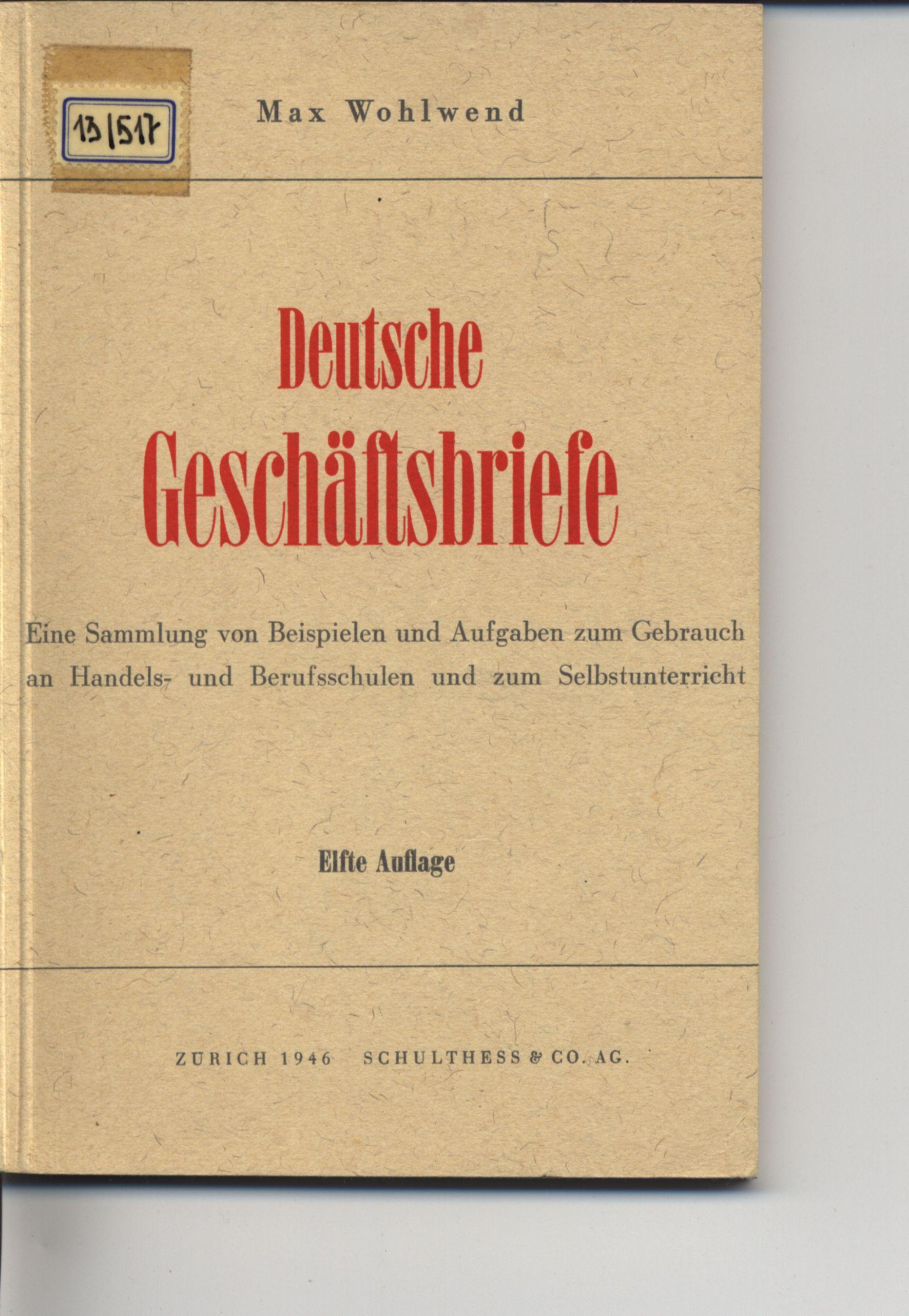 Deutsche Geschäftsbriefe Eine Sammlung Von Beispielen Und Aufgaben