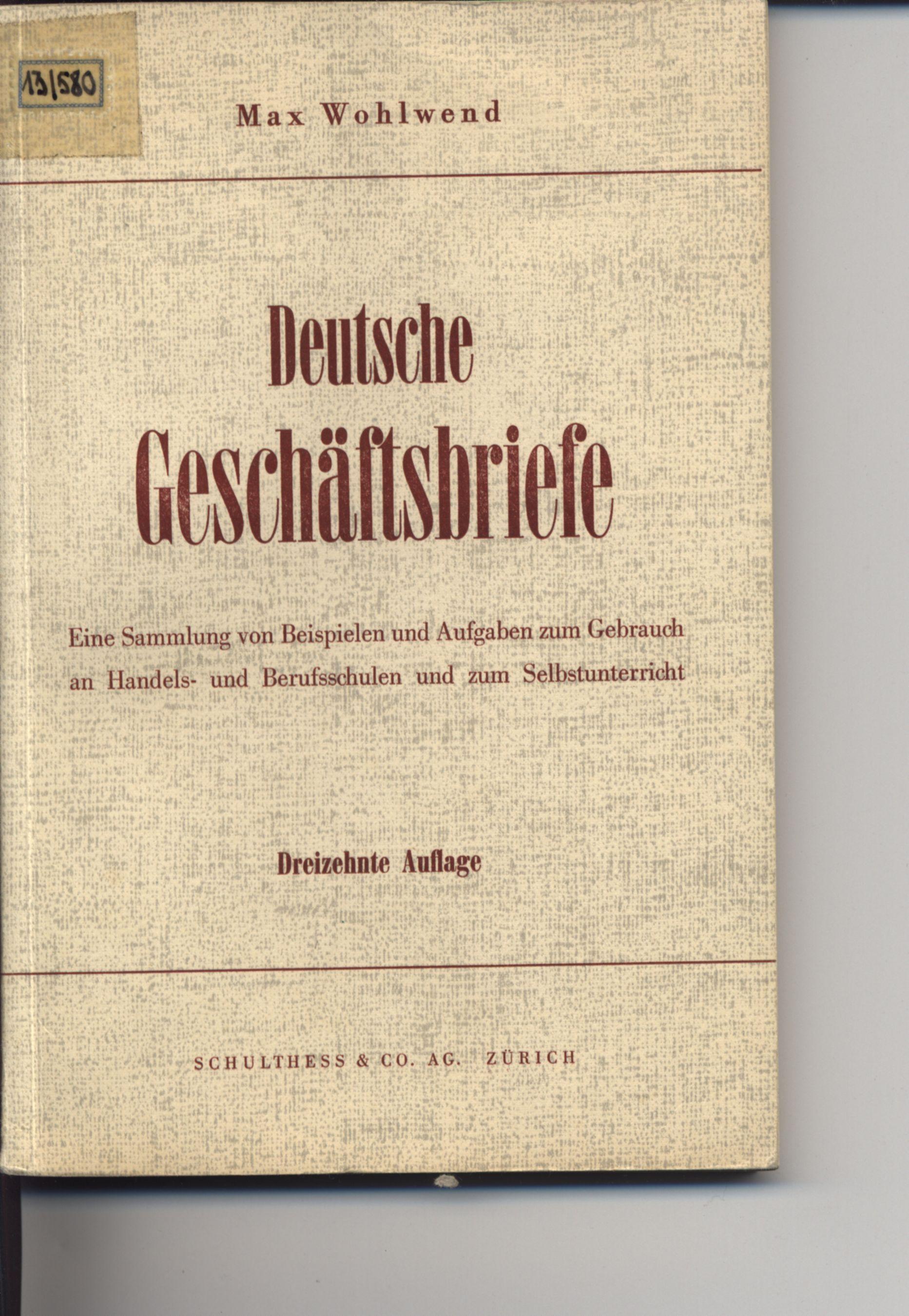 Deutsche Geschäftsbriefe Eine Von Wohlwend Zvab