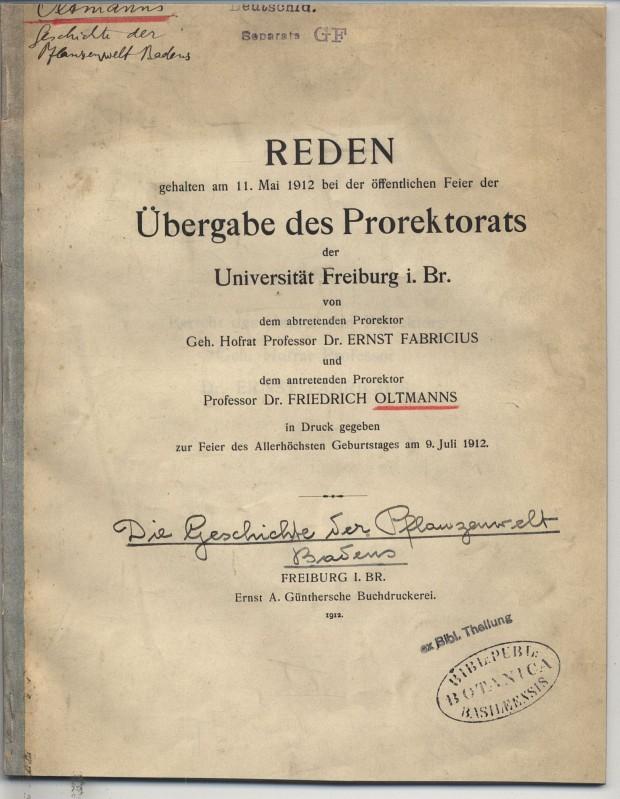 Reden, gehalten am 11. Mai 1912 bei: Oltmanns, Friedrich: