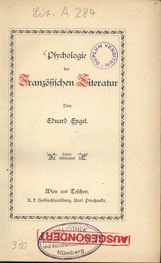 Psychologie der Französischen Literatur. Salon-Bibliothek.: Engel, Eduard: