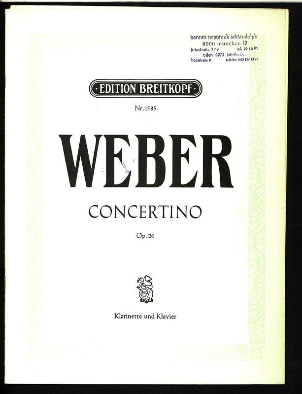 Concertino For Clarinet In AFlat Major Op 26 BFlat Clarinet Solo With Piano Kalmus Edition Do