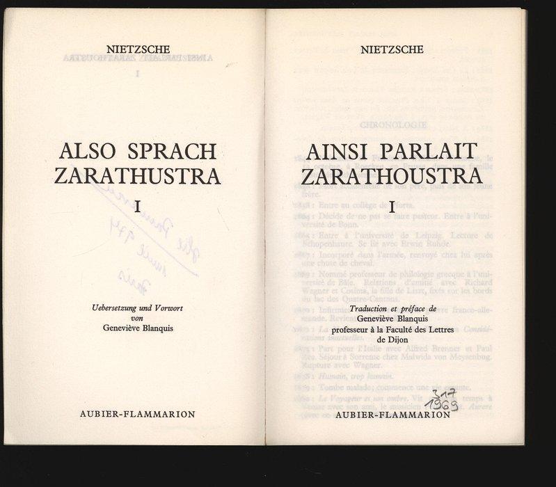 Also Sprach Zarathustra, I. Ainsi parlait Zarathoustra,: Nietzsche, Friedrich: