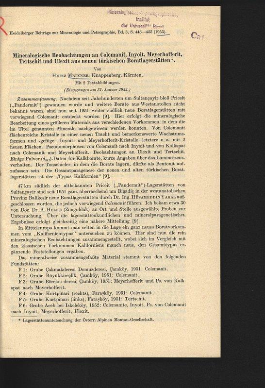 Mineralogische Beobachtungen an Colemanit, Inyoit, Meyerhofferit, Tertschit: MEIXNER, Heinz ,