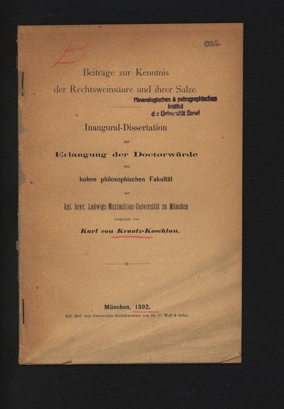 Beiträge zur Kenntnis der Rechtsweinsäure und ihrer: von KRAATZ-KOSCHLAU, Karl: