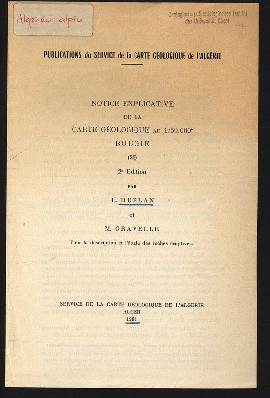 NOTICE EXPLICATIVE De La CARTE GEOLOGIQUE Au DUPLAN L