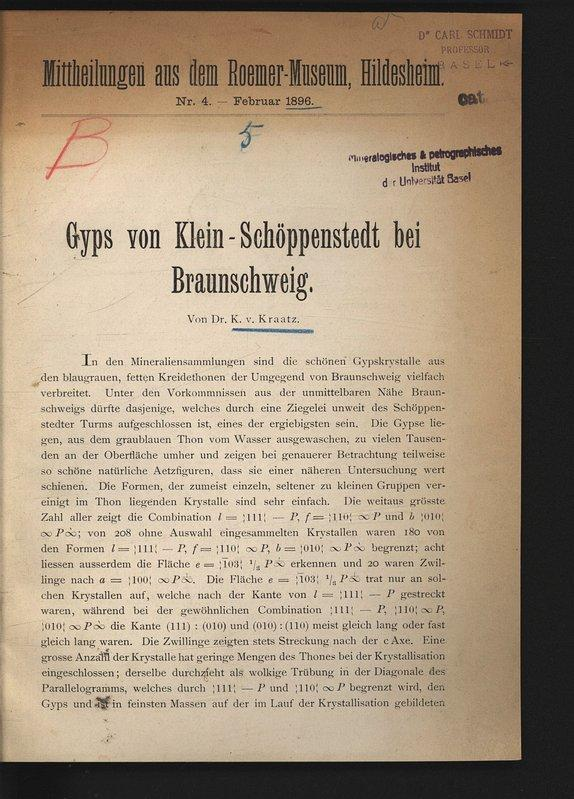 Gyps von Klein-Schöppenstedt bei Braunschweig. Mittheilungen aus: KRAATZ-KOSCHLAU, K.: