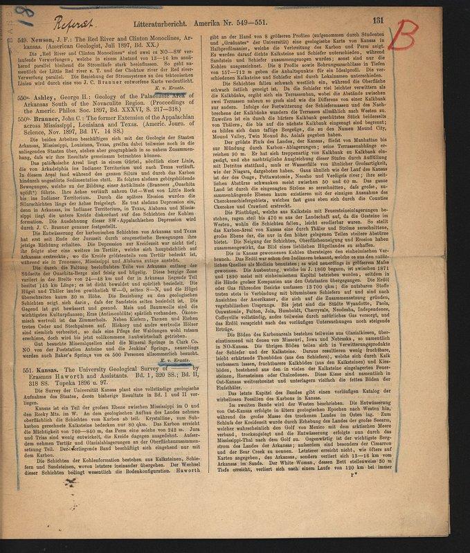 Litteraturbericht. Amerika Nr. 549-551.: KRAATZ-KOSCHLAU, K.: