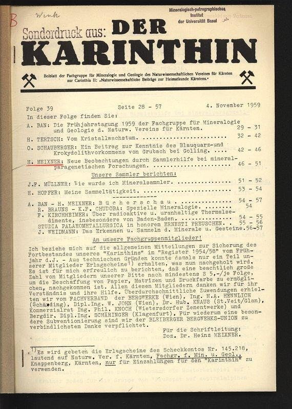 Neue Beobachtungen durch Sammlerhilfe bei mineralparagenetischen Forschungen.: MEIXNER, Heinz: