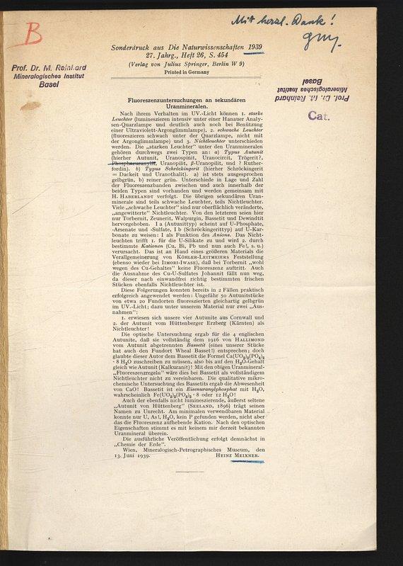 Fluoreszenzuntersuchungen an sekundären Uranmineralen. Sonderdruck aus Die: MEIXNER, Heinz: