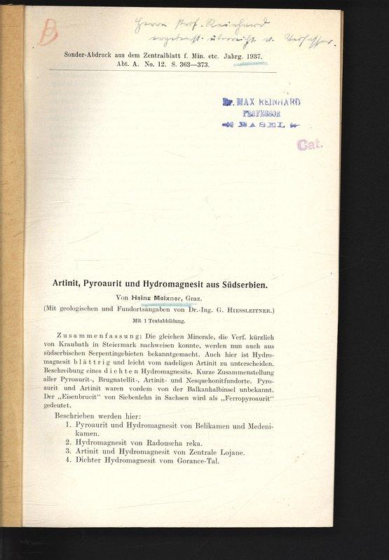 Artinit, Pyroaurit und Hydromagnesit aus Südserbien. Sonder-Abdruck: MEIXNER, Heinz: