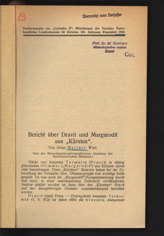 """Bericht über Dravit und Margarodit aus """"Kärnten"""".: MEIXNER, Heinz:"""
