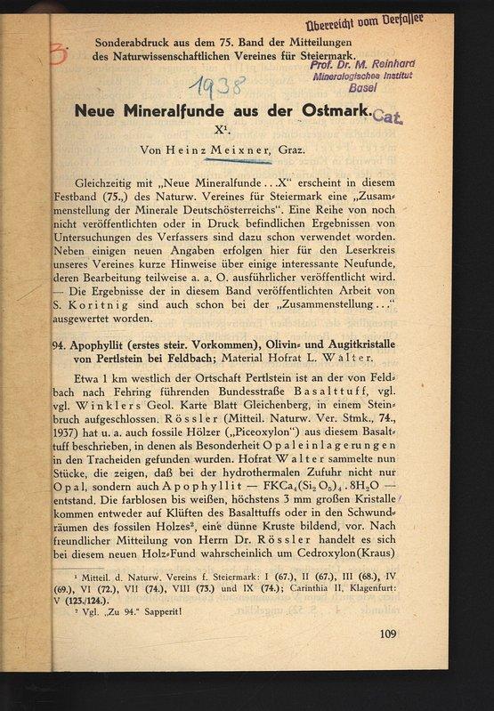 Neue Mineralfunde aus der Ostmark. X. Sonderabdruck: MEIXNER, Heinz: