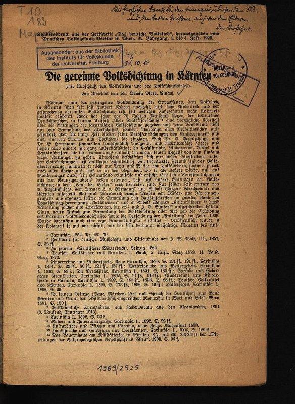 Die gereimte Volksdichtung in Kärnten. Sonderabdruck aus: MORO , Oswin