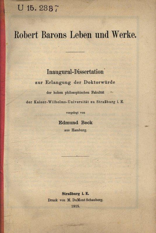 Dissertation sebastian beck