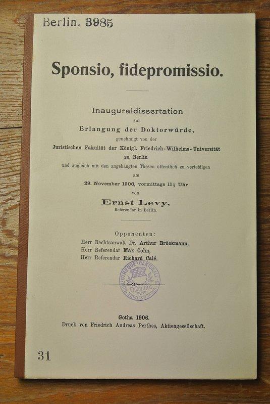 Sponsio fidepromisio / Ernst Levy BERLIN 3985: Levy, Ernst: