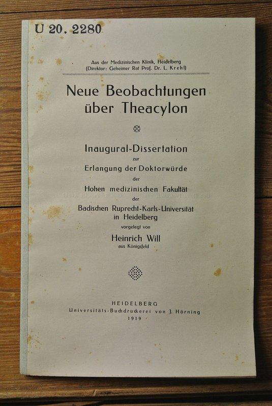 Neue Beobachtungen über Theacylon. U. 20. 2280: Will, Heinrich,