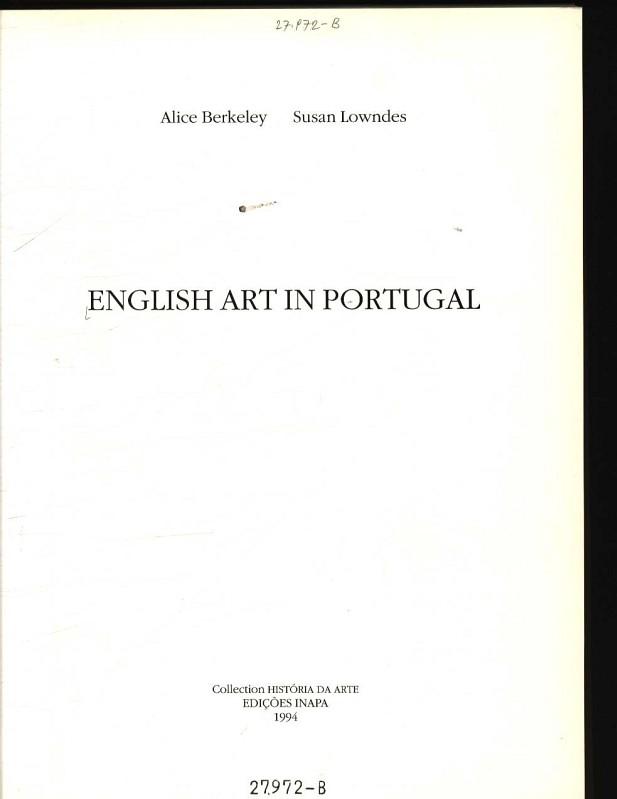 English art in Portugal - Berkeley, Alice