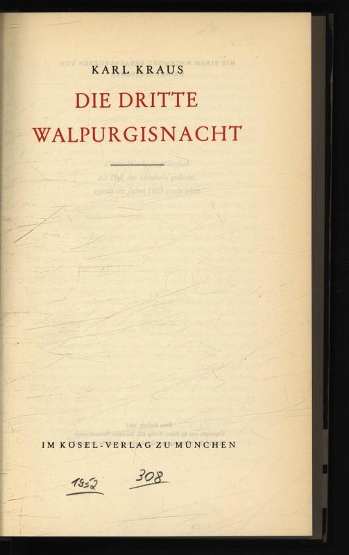 Die dritte Walpurgisnacht.: Kraus, Karl,