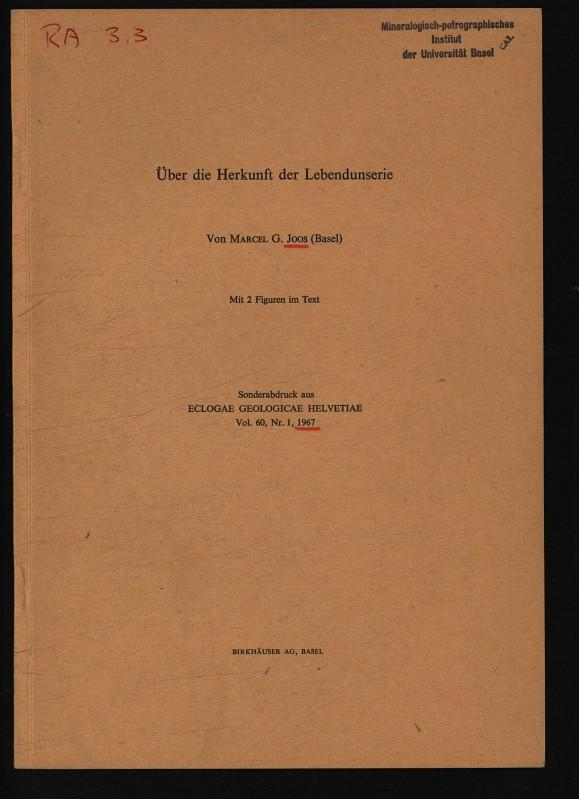 Über die Herkunft der Lebendun Serie. Sonderabdruck: Joos, Marcel G.,