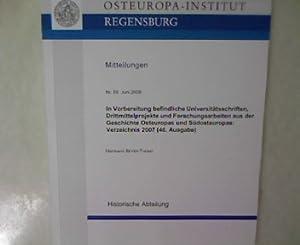 In Vorbereitung befindliche Universitätsschriften, Drittmittelprojekte und Forschungsarbeiten ...