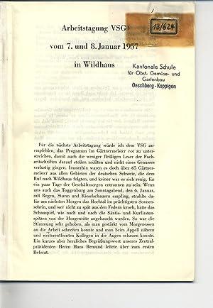 Arbeitstagung VSG vom 7. und 8. Januar 1957 in Wildhaus.: VSG [Hrsg.]: