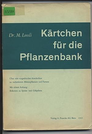 Kärtchen für die Pflanzenbank. Über 400 vorgedruckte Anschriften zu verbreiteten Bl&...