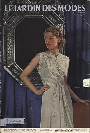 LE JARDIN DES MODES, 1. Janvier 1938. Chemise de nuit de J. Lanvin, incrustee de dentelle de ...