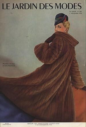LE JARDIN DES MODES, 1. Novembre 1938. Manteau de vison d'Andrebrun.