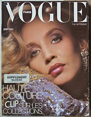 VOGUE, Paris, Septembre 1984. Jerry Hall. supplement suisse. Haute couture clip sur les collections.